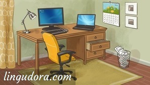 A desk is positioned against the back wall. On top there is a lamp, a computer and a notebook. One of the desk's drawers is half open. In front of the desk there is a yellow office arm chair and a paper waste bin. On the wall there is a calender.
